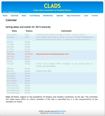 Image of CLADS calender plugin.