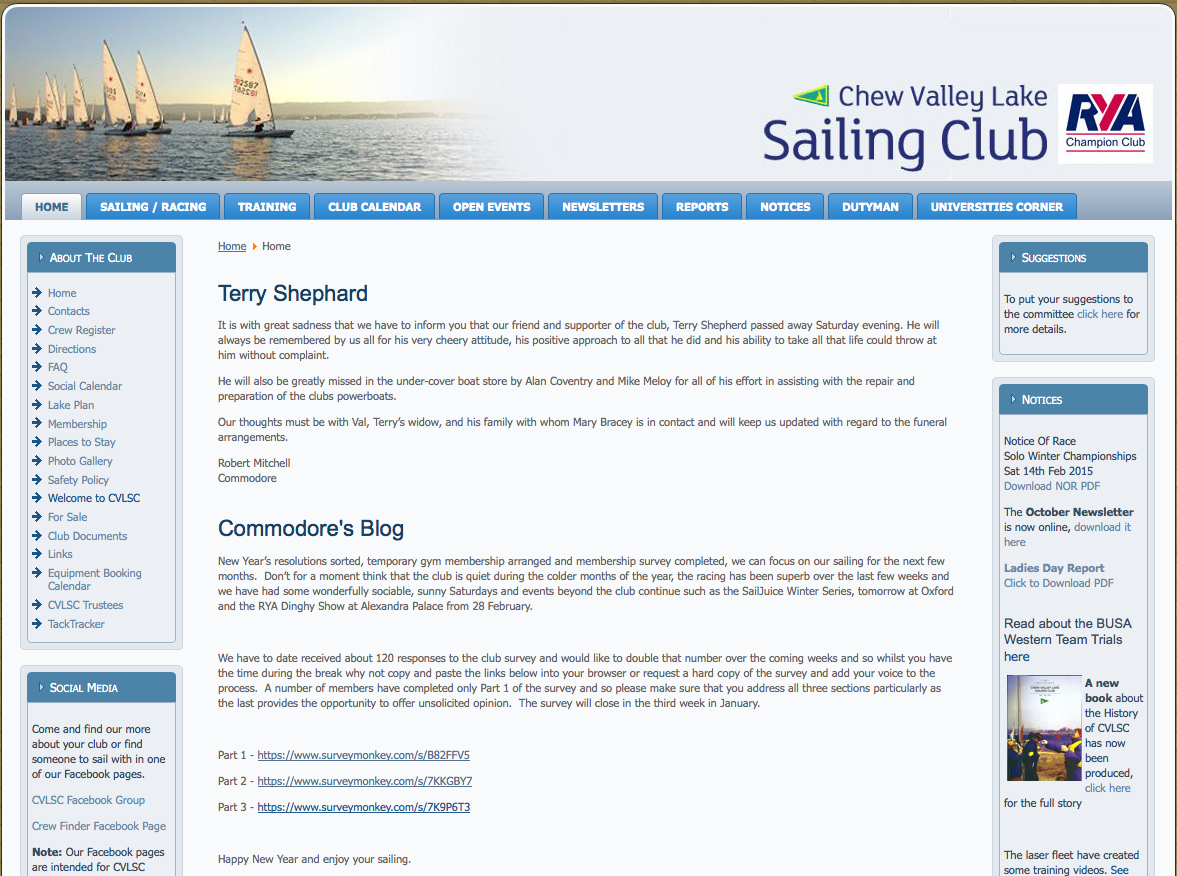 Screen shot of a Joomla Website for Chew Valley Lake Sailing Club, hosted by BitSolver Limited