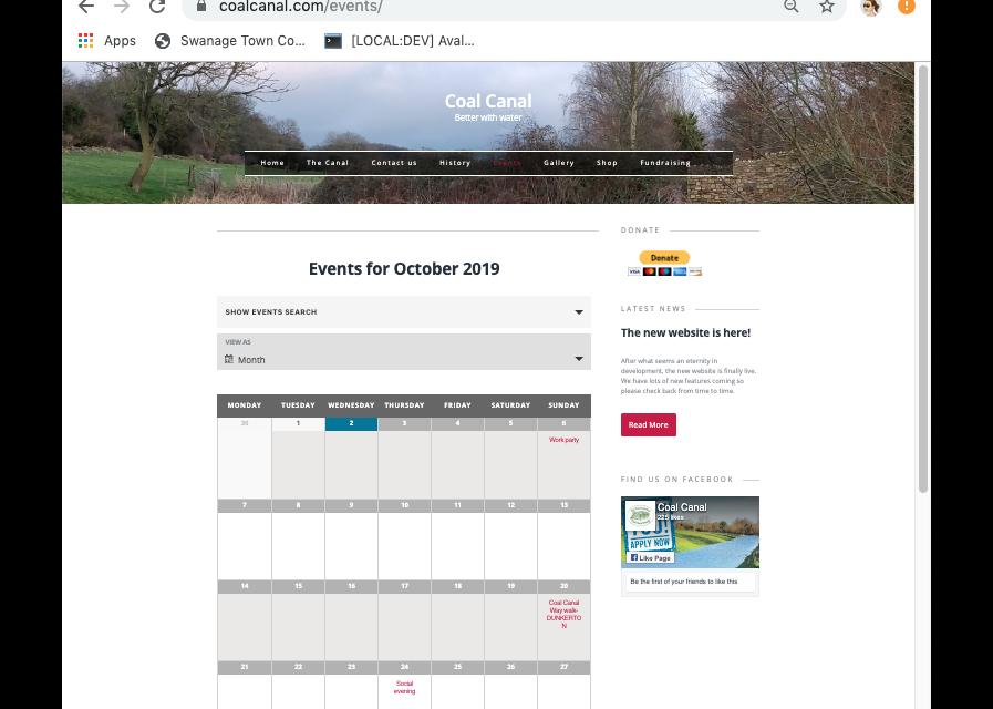 Coal Canal Event Calendar